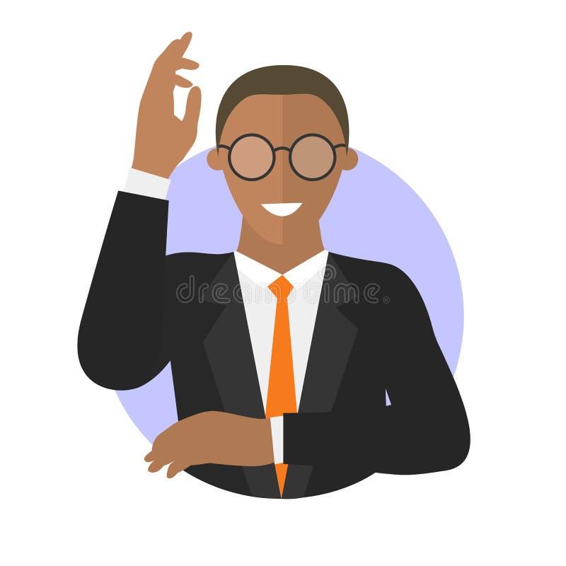 O homem de negócios nos vidros tem uma ideia Ilustração isolada simplesmente editável do vetor ilustração royalty free