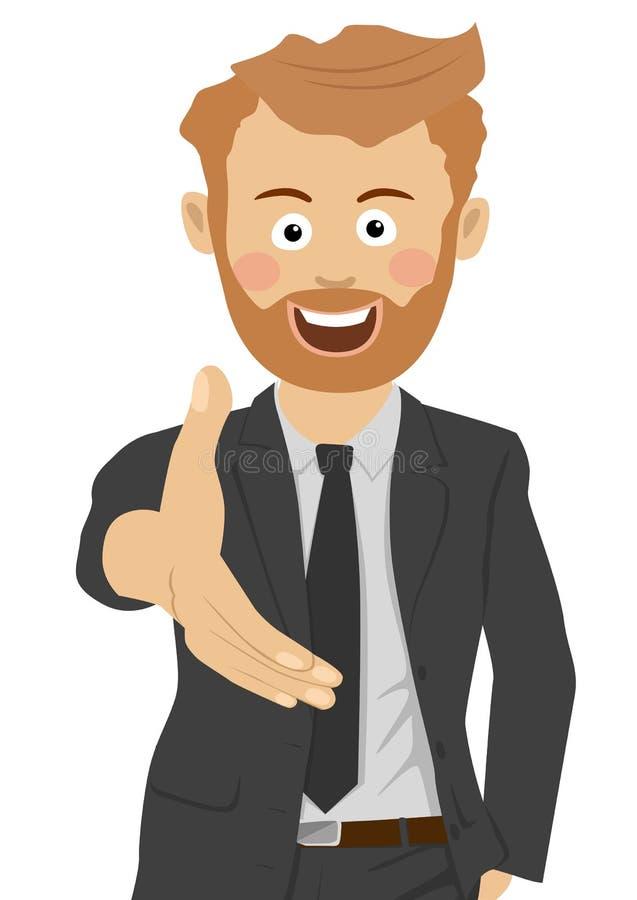 O homem de negócios novo do moderno dá sua mão para agitar as mãos ilustração royalty free