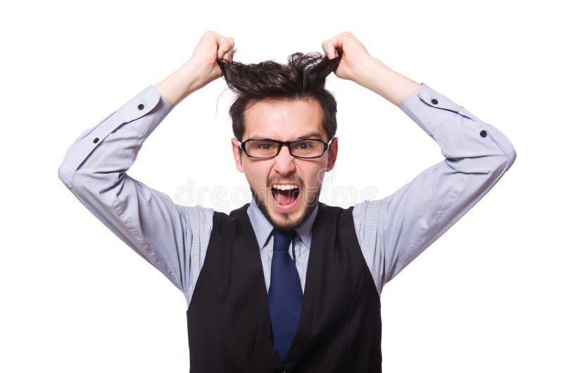 O homem de negócios novo isolado no branco foto de stock