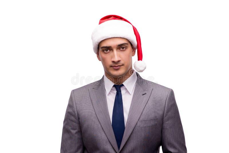 O homem de negócios novo que comemora o Natal no escritório foto de stock