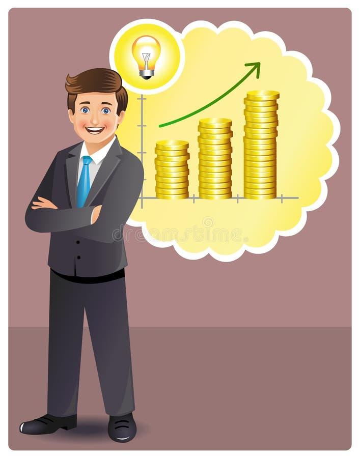 O homem de negócios novo tem a idéia rentável ilustração royalty free