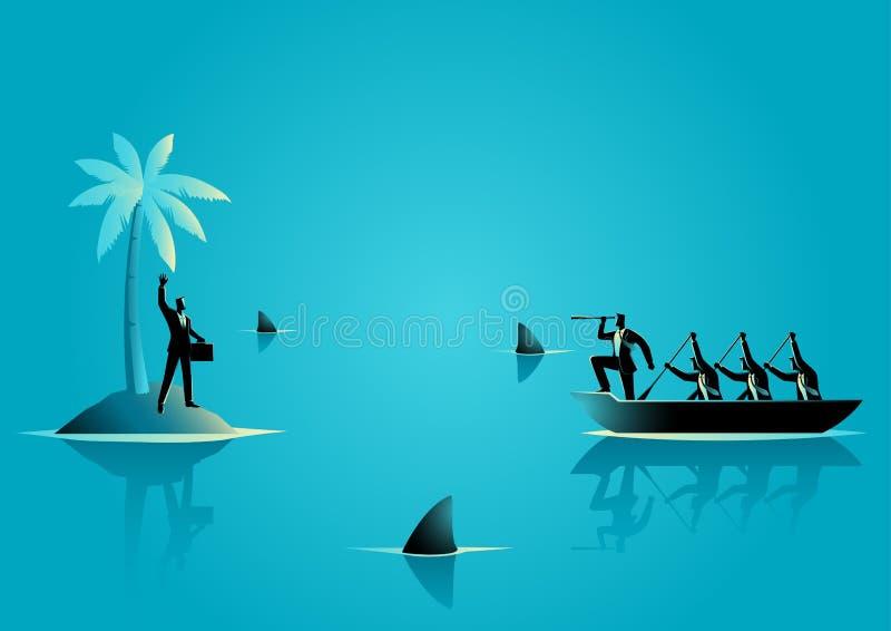 O homem de negócios obtém colado na ilha com água completa do tubarão ilustração royalty free