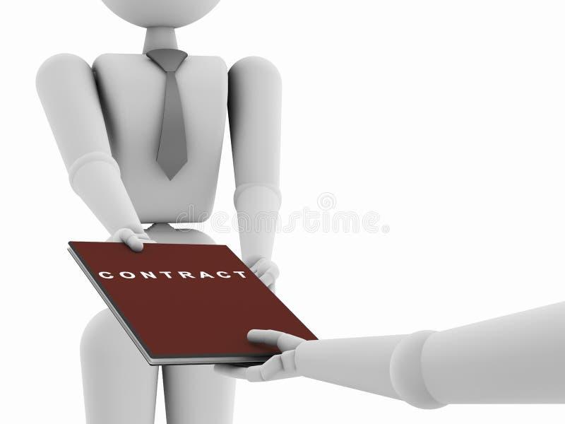 O homem de negócios obtém o contrato ilustração do vetor