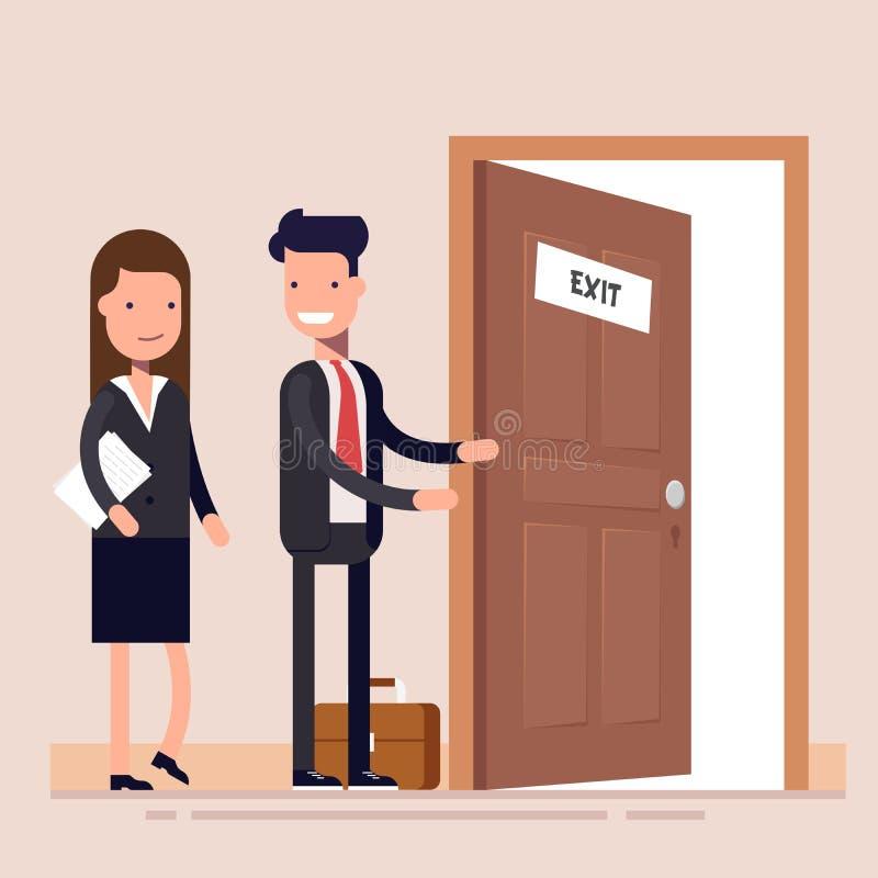 O homem de negócios oferece uma mulher sair do escritório A pessoa educada ilustração royalty free