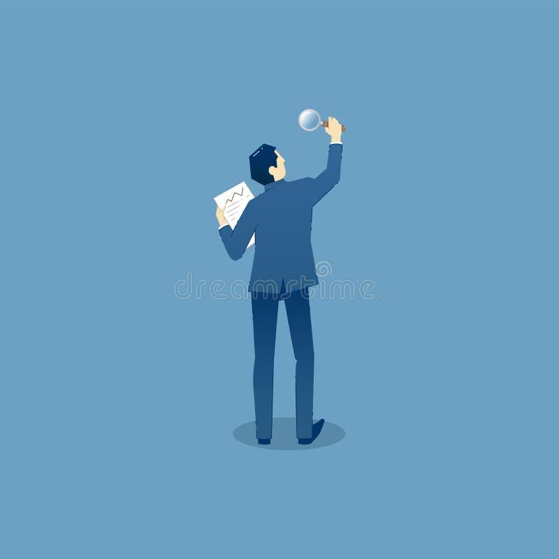 O homem de negócios olha através da lupa ilustração stock