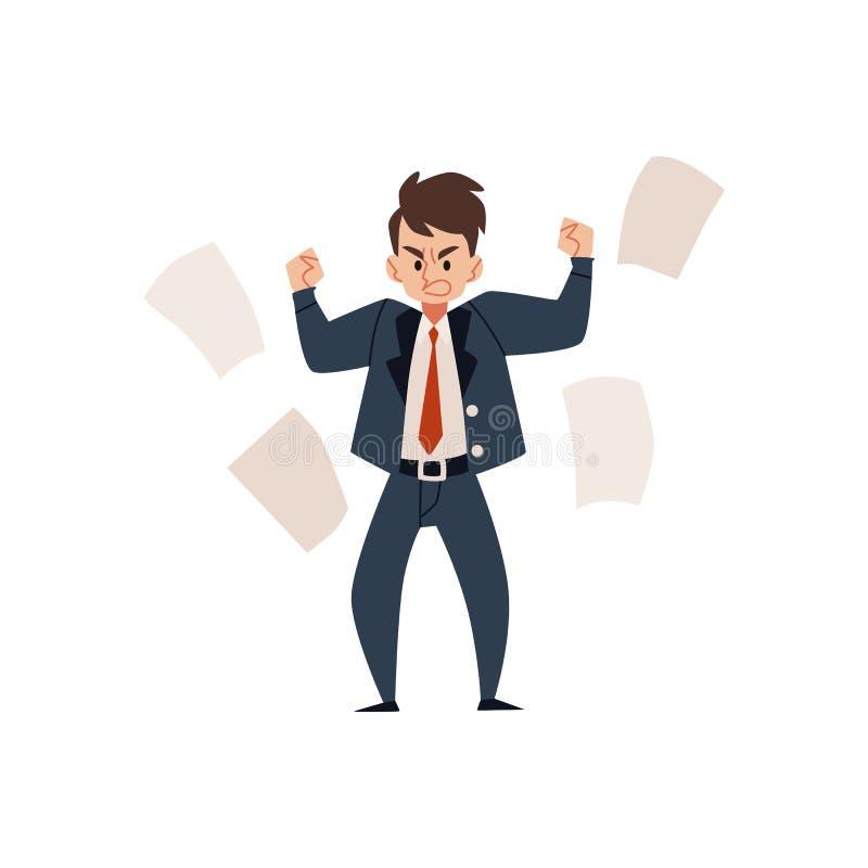 O homem, o homem de negócios ou o chefe irritado do empregado em um terno apertam seus punhos na raiva e dispersam o papel ilustração stock