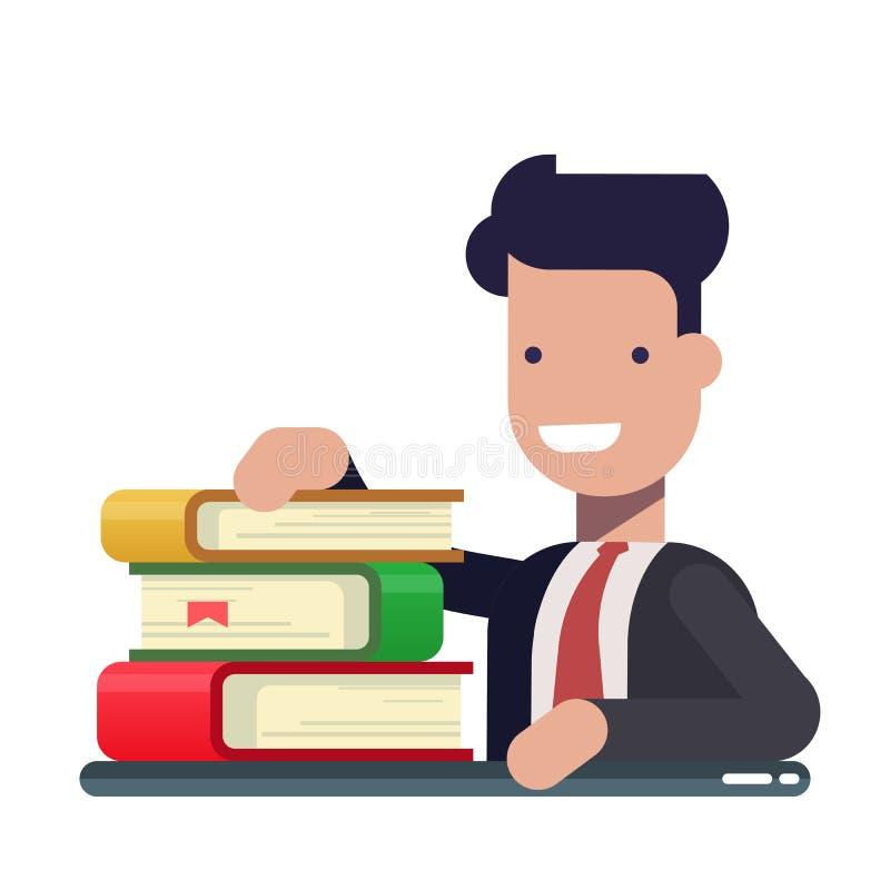 O homem de negócios ou o gerente novo trabalham e aprendem dos livros Literatura do negócio Homem satisfeito em um terno de negóc ilustração royalty free