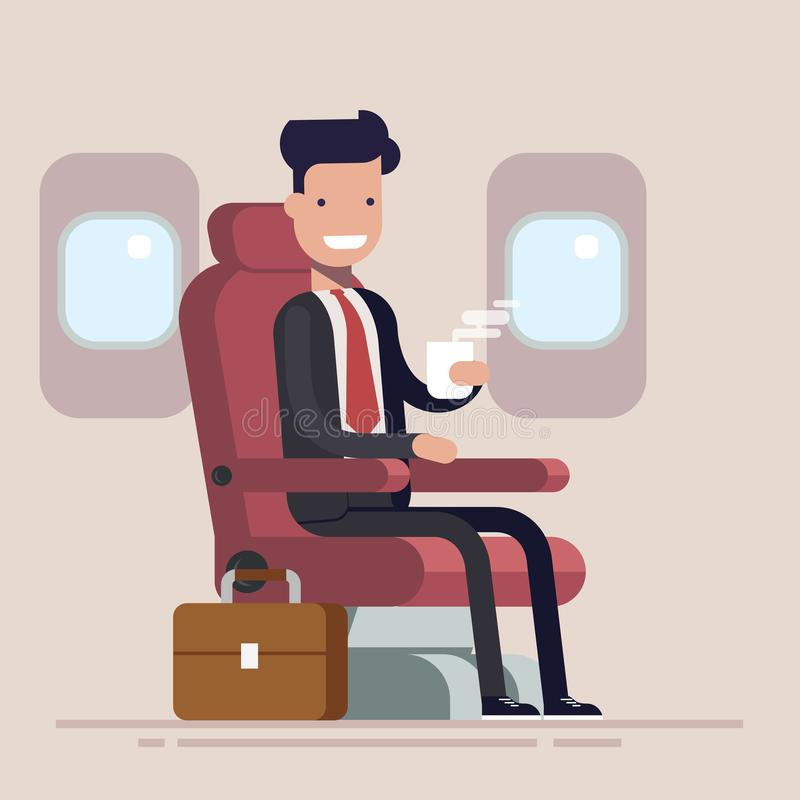 O homem de negócios ou o gerente voam em um avião O caráter do homem do passageiro que senta-se na cadeira e relaxa na classe exe ilustração royalty free