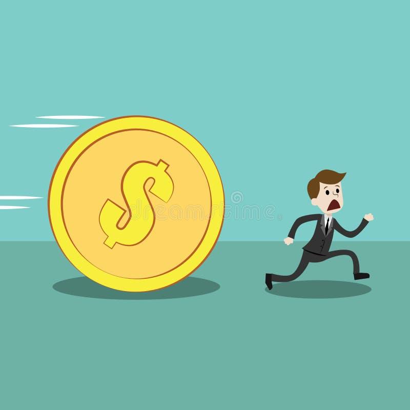 O homem de negócios ou o gerente correm longe da moeda dourada grande com dólar do sinal ilustração stock