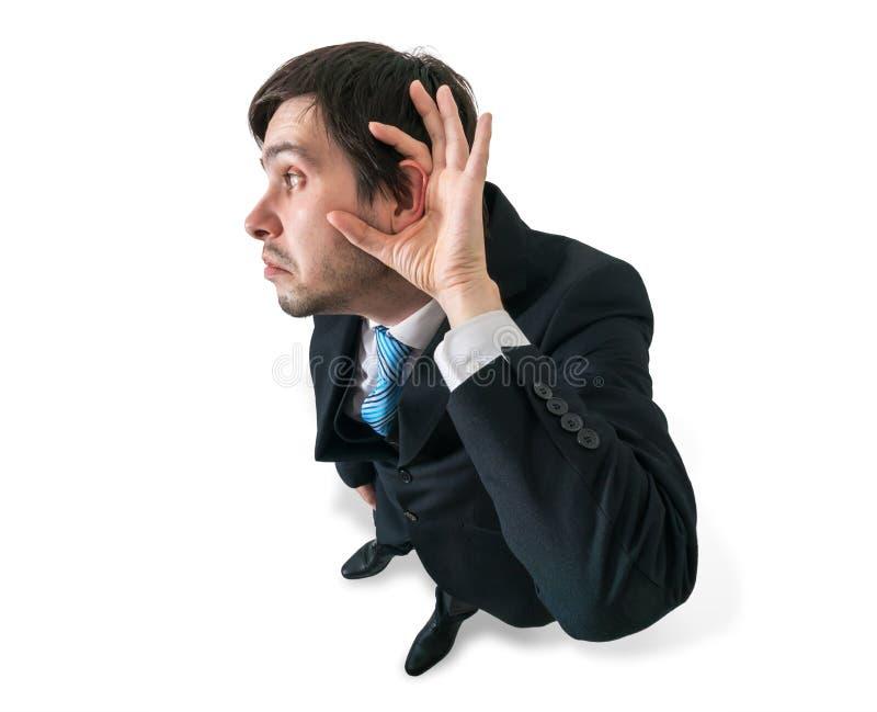 O homem de negócios ou o gerente estão escutando Vista da parte superior Isolado no branco fotos de stock royalty free