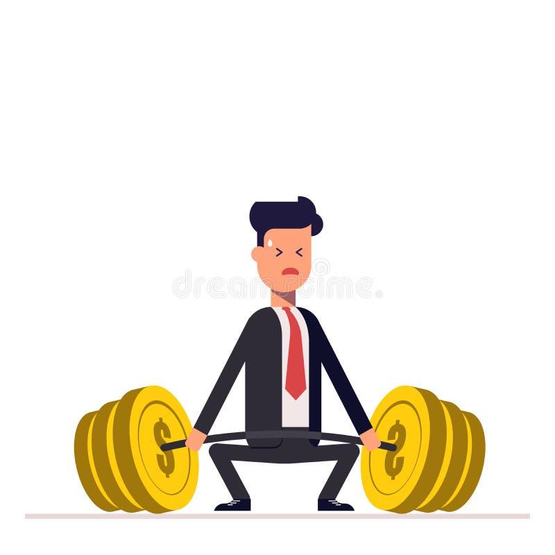 O homem de negócios ou o gerente não podem levantar um barbell pesado com dinheiro Grandes dificuldades unattainable Vetor, ilust ilustração do vetor