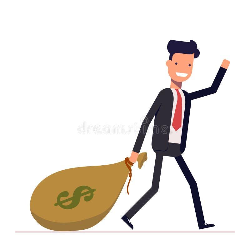 O homem de negócios ou o gerente vêm com um saco de dólares do dinheiro Homem rico feliz na ondulação do terno de negócio Vetor,  ilustração do vetor