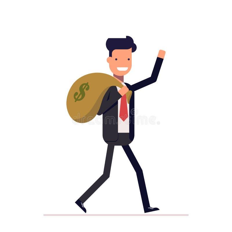 O homem de negócios ou o gerente vêm com um saco do dinheiro O homem feliz no terno de negócio obteve o salário, lucro Vetor, ilu ilustração stock