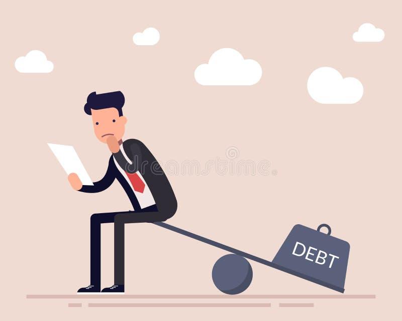 O homem de negócios ou um gerente com um acordo de empréstimo sentam-se nas escalas A severidade de um débito financeiro Carga pe ilustração stock