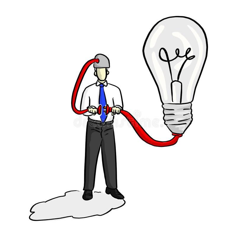 O homem de negócios põe obstrui dentro a ideia de conexão do soquete e sua cabeça ilustração do vetor