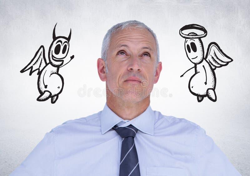 O homem de negócios pensativo com anjo e o diabo rabiscam no fundo foto de stock royalty free