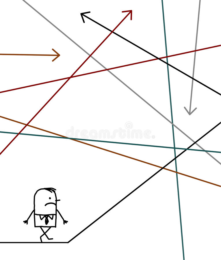 O homem de negócios perdeu em um labirinto ilustração royalty free