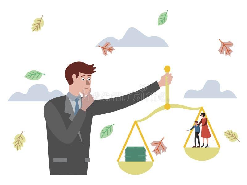 O homem de negócios pesa o dinheiro e a família em escalas ilustração do vetor