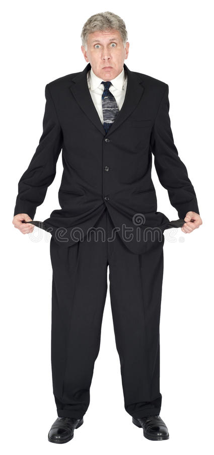 O homem de negócios pobre, quebrou, pobres, no débito, dinheiro da necessidade isolado fotos de stock