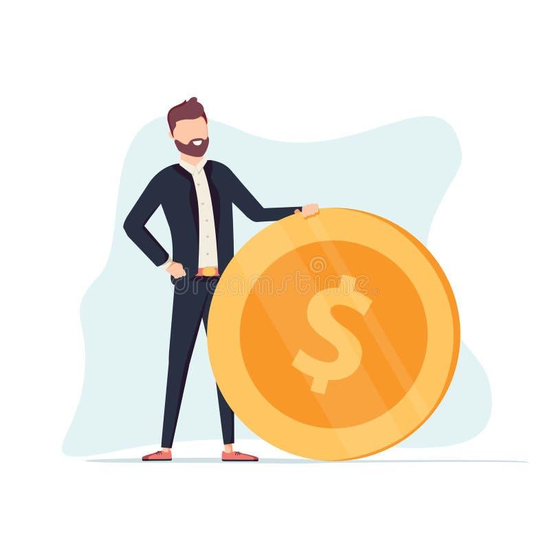 O homem de negócios positivo considerável está rolando uma moeda dourada enorme do dólar Salário, economia e investimento do conc ilustração do vetor