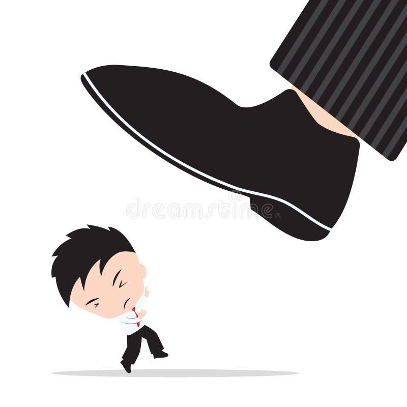 O homem de negócios, preocupação e teme que as sapatas do chefe stomp, sumário do conceito do alvo da competição do negócio ilustração do vetor