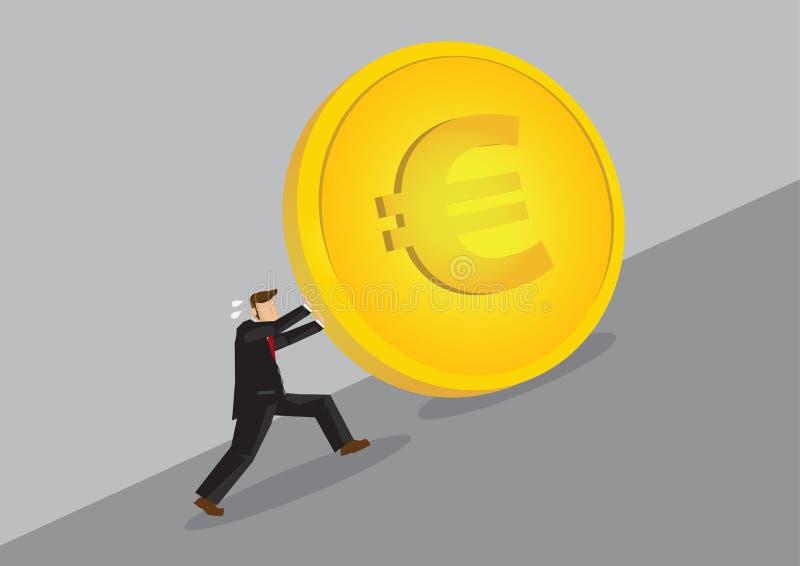 O homem de negócios Pushing Golden Euro inventa a ilustração subida do vetor dos desenhos animados ilustração stock