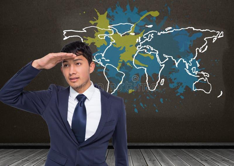 O homem de negócios que anticipa com o mapa colorido com pintura chapinhou o fundo da parede imagem de stock royalty free