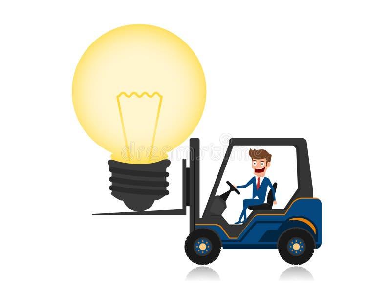 O homem de negócios que conduz a empilhadeira carregou com a ideia grande da ampola Conceito creativo da idéia ilustração stock