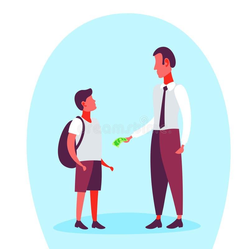 O homem de negócios que dá a cédula do dólar do dinheiro seu menino de escola despesas do bolso inclui no orçamento o conceito pe ilustração do vetor