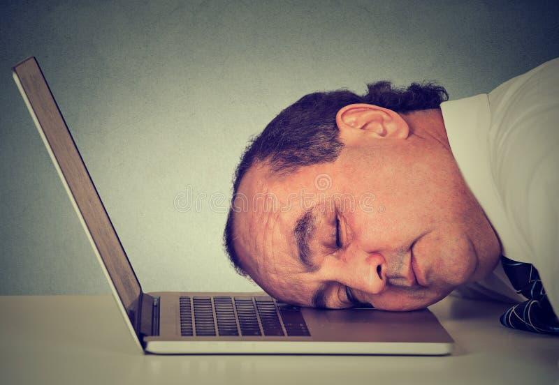 O homem de negócios que dorme em um portátil em sua mesa, meio cansado envelheceu o empregado do indivíduo foto de stock