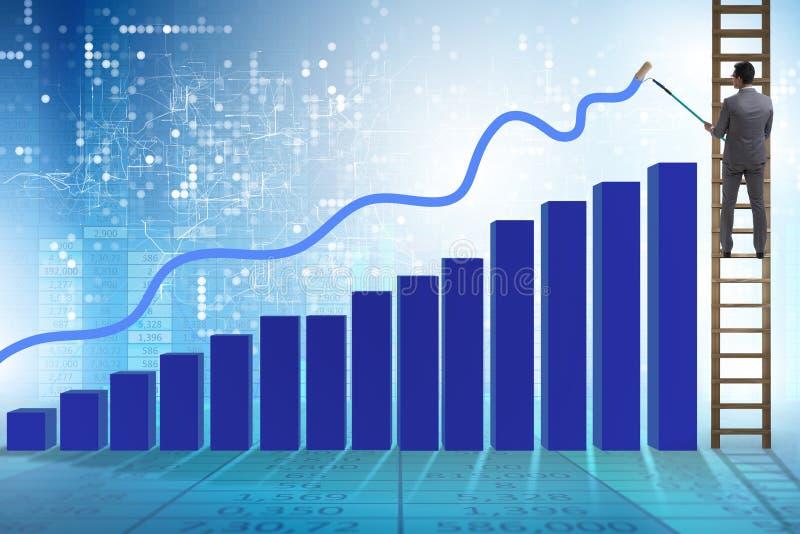 O homem de negócios que escala para o crescimento nas estatísticas fotos de stock royalty free