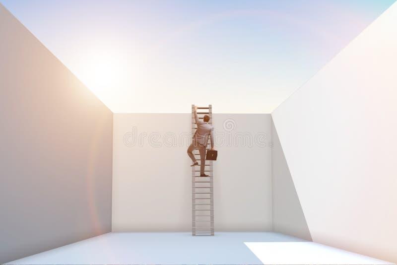 O homem de negócios que escala uma escada para escapar dos problemas ilustração royalty free