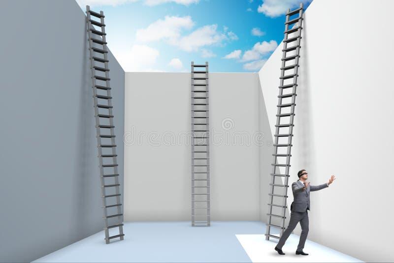 O homem de negócios que escala uma escada para escapar dos problemas ilustração stock