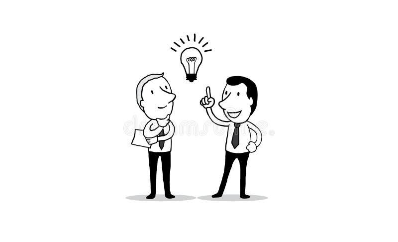 O homem de negócios que fala obtém aproximadamente a grande ideia Conceito creativo a mão isolada do esboço da ilustração tirada  ilustração stock