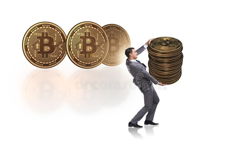 O homem de negócios que guarda o bitcoin no conceito do blockchain do cryptocurrency imagem de stock royalty free