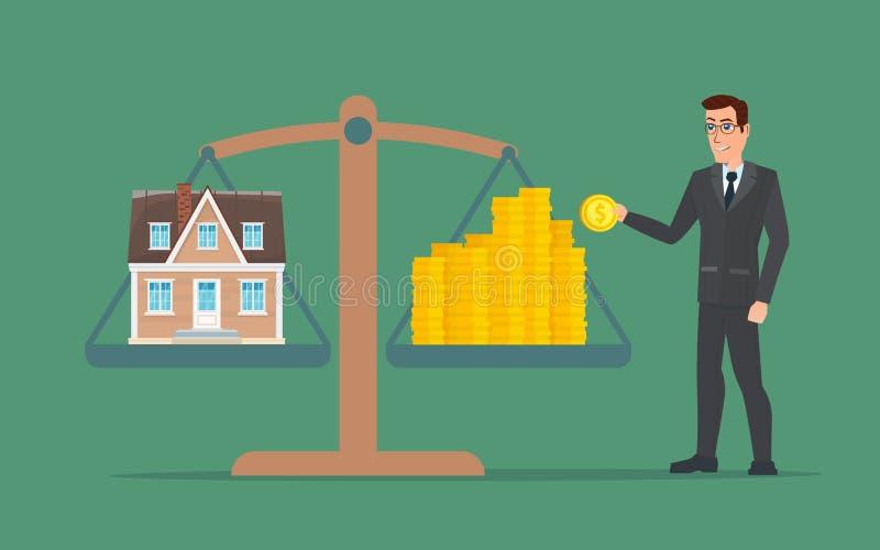 O homem de negócios que guarda a casa no dinheiro, homem recolhe o dinheiro ilustração do vetor