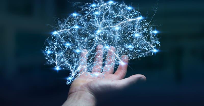 O homem de negócios que guarda o cérebro humano do raio X digital em sua mão 3D ren ilustração royalty free