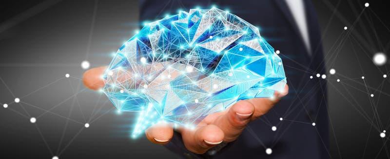 O homem de negócios que guarda o cérebro humano do raio X digital em sua mão 3D ren ilustração do vetor