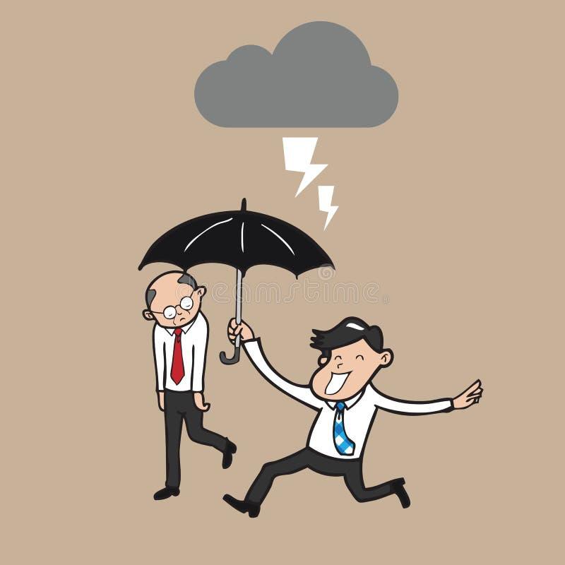 O homem de negócios que guarda o guarda-chuva protege o chefe do strom ilustração royalty free
