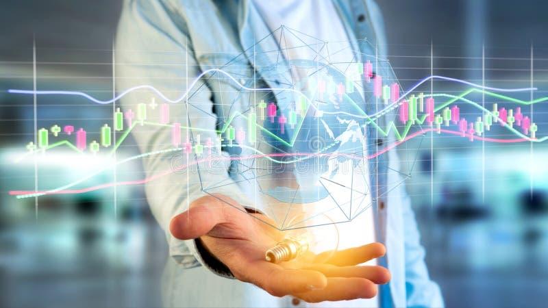 O homem de negócios que guarda um 3d rende a informação de dados de troca da bolsa de valores ilustração stock