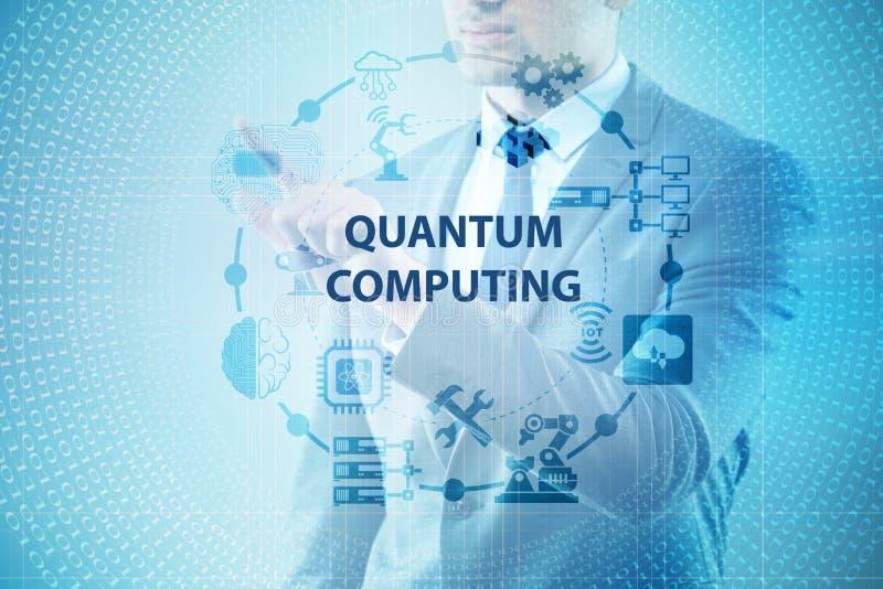 O homem de negócios que pressiona o botão virtual no conceito da computação de quantum ilustração royalty free