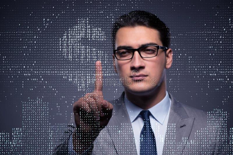 O homem de negócios que pressiona o botão virtual com dólar imagem de stock royalty free