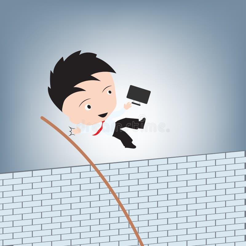 O homem de negócios que salta a parede de tijolo transversal para o escape, vetor criativo da ilustração do conceito do obstáculo ilustração stock