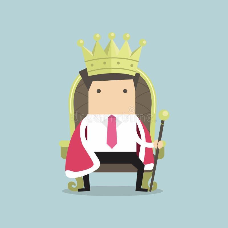 O homem de negócios que senta-se no trono com a coroa gosta de um rei ilustração do vetor