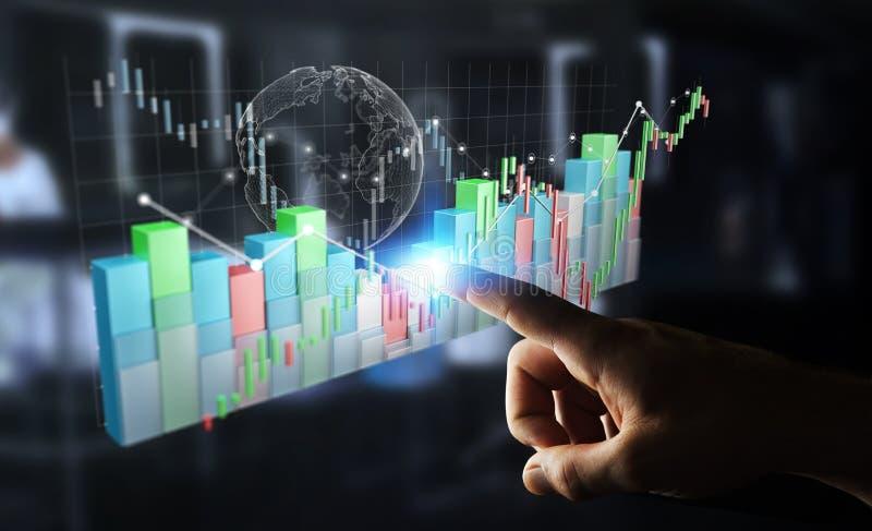 O homem de negócios que usa 3D digital rendeu o stats e o c da bolsa de valores ilustração stock