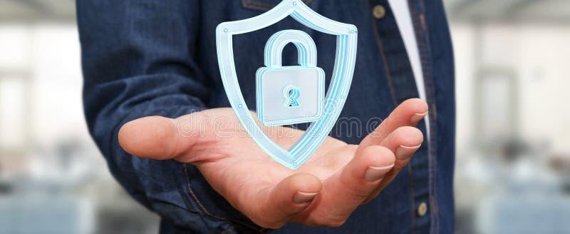 O homem de negócios que usa dados modernos protege a rendição do antivirus 3D ilustração stock
