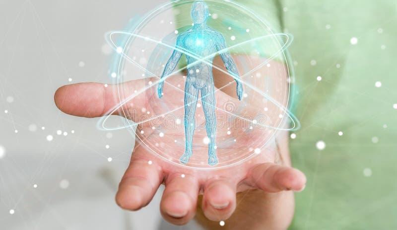 O homem de negócios que usa a relação digital 3D da varredura do corpo humano do raio X ren ilustração royalty free
