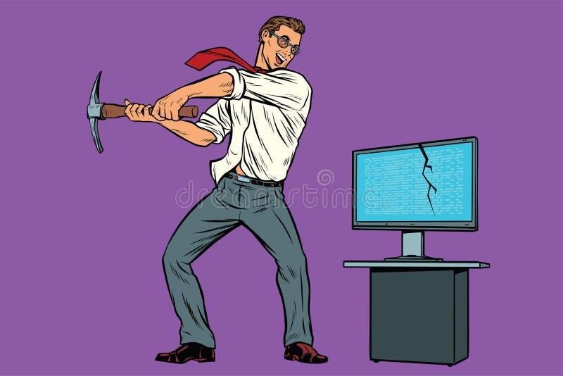 O homem de negócios quebra o computador, ransomware do vírus do criptógrafo ilustração stock