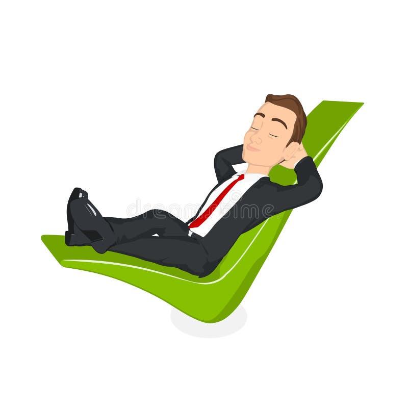 O homem de negócios relaxou em uma marca de verificação ilustração do vetor