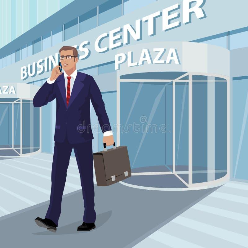 O homem de negócios sai do centro de negócios ilustração royalty free